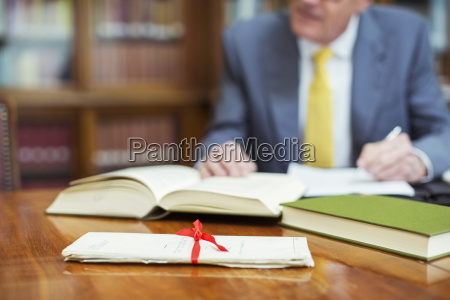 lawyer researching in chambers