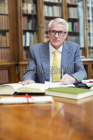 lawyer doing research in chambers