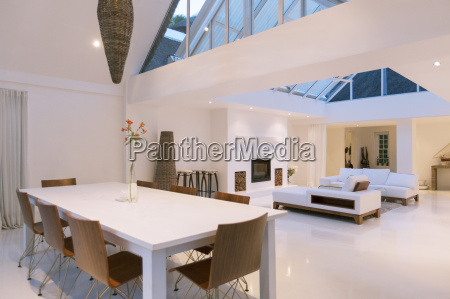 dining table sofas and skylights in