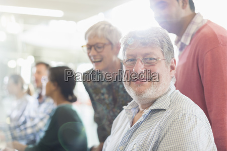 portrait confident businessman in meeting