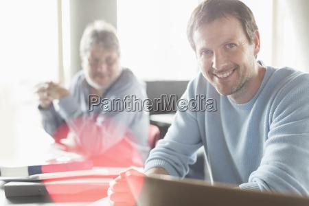 portrait confident man in adult education