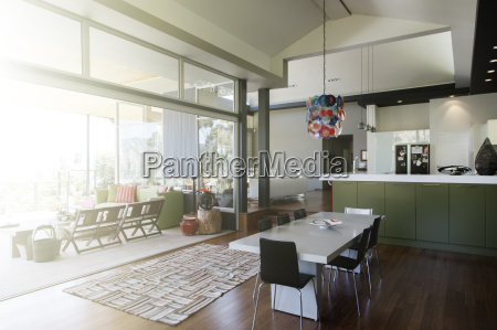 modern dinning room interior with large
