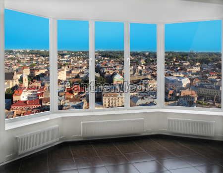 modern windows with view of lviv