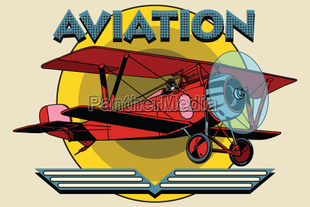 retro two winged plane aviation poster