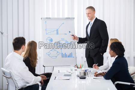 businessman giving presentation to businesspeople