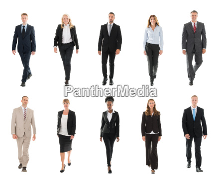 businesspeople walking over white background