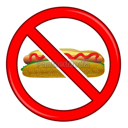 no hot dog sign isolated on