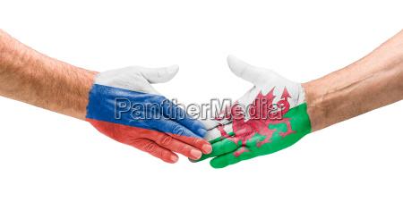 football teams handshake between russia and