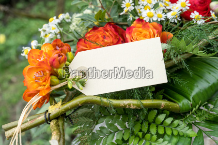 bouquet with red summer flowers and