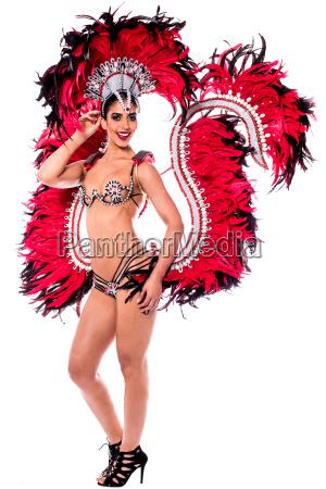 schoene karneval taenzerin erstaunliche kostuem
