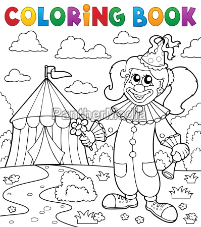 farbbuchclown in der naehe von zirkusthema