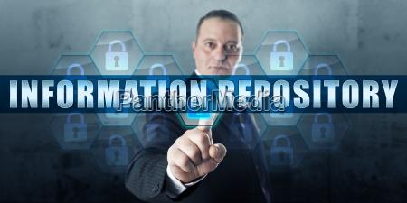 data manger pressing information repository