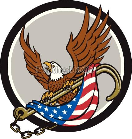 american eagle clutching towing j hook