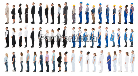 collage of people standing in line