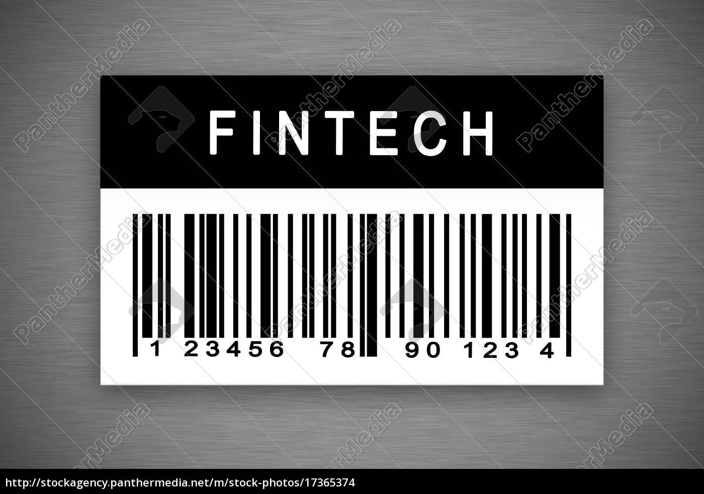 fintech, oder, finanztechnologie, barcode-label - 17365374