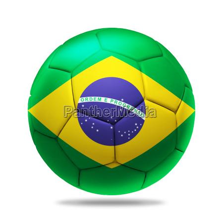 3d soccer ball with brazil team