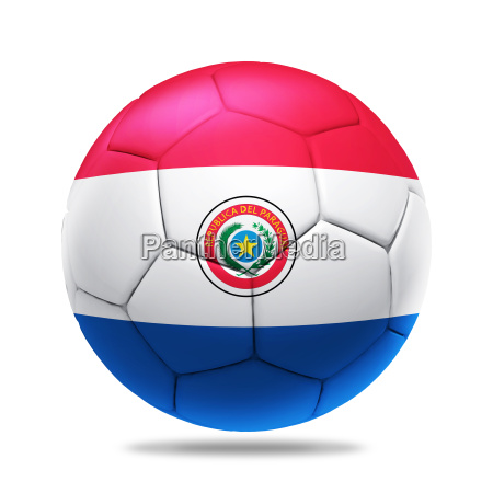 3d soccer ball with paraguay team