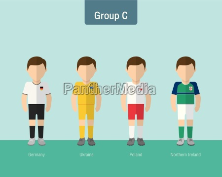 soccer uniform group c flat design