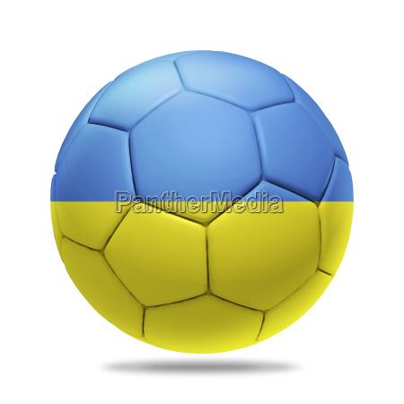 3d soccer ball with ukraine team
