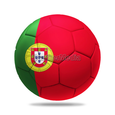 3d soccer ball with portugal team