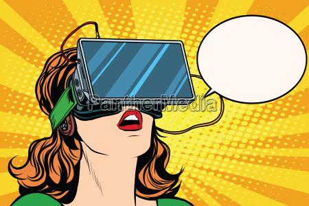 retro maedchen mit brille virtuelle realitaet