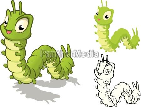 hohe qualitaet detaillierte caterpillar cartoon figur