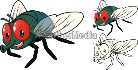 high quality detailed fly cartoon character
