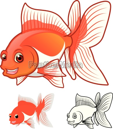 high quality fantail goldfish cartoon character