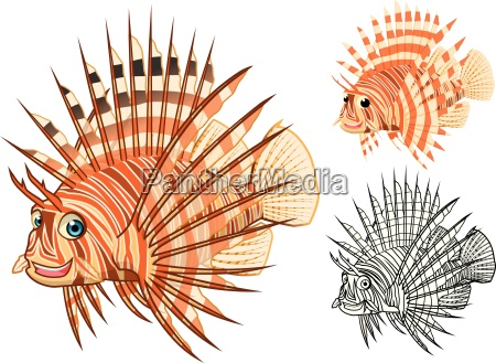 high quality lion fish cartoon character