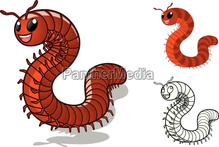 high quality detailed millipede cartoon character