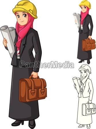 moslemische geschaeftsfrau architekt wearing pink veil