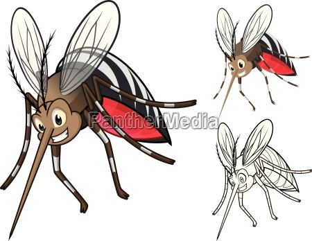 high quality detailed mosquitoes cartoon character