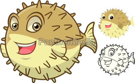 high quality puffer fish cartoon character