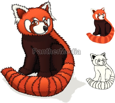 high quality red panda cartoon character
