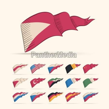 verschiedene vektor nationale dreieck flag gesetzt