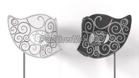 3d rendering black and white mask