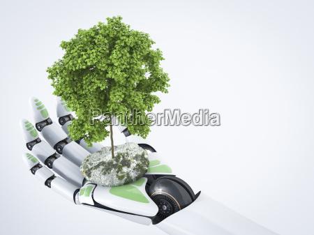 3d rendering robot hand holding tree