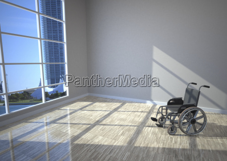 wheel chair in the room with