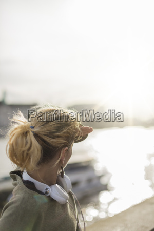 uk london woman with headphones at