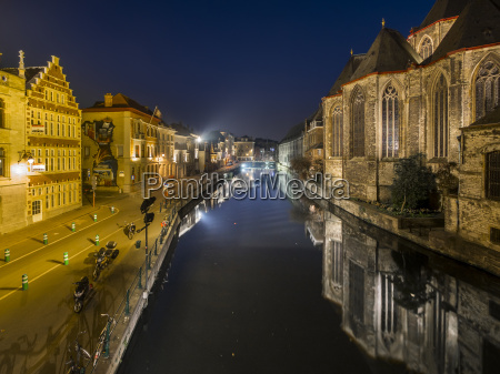belgium ghent old town with st