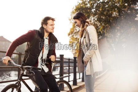 germany berlin young couple at river