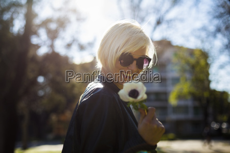 portrait of smiling blond woman with