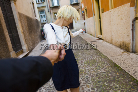 italy verona happy blond woman holding
