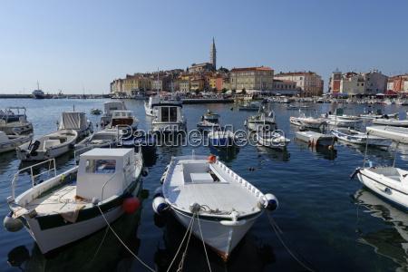 croatia istria rovinj moored boats at