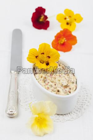 bowl of homemade nasturtium butter