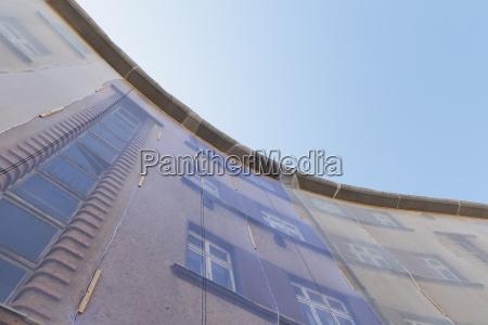 facade of multi family house under