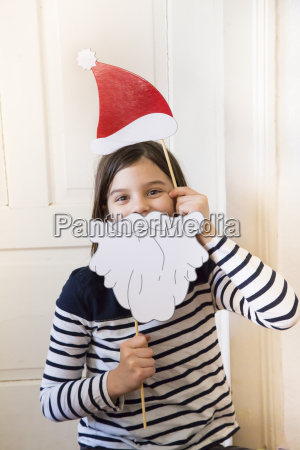 portrait of girl with christmas cap