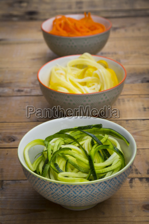 bowls of spiralized carrots and different