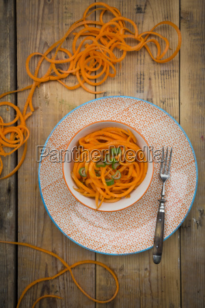 bowl of spiralized carrot salad with