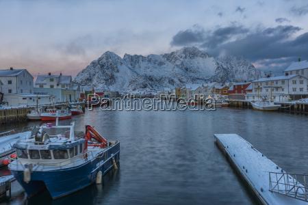 norway lofoten islands henningsvajer town at